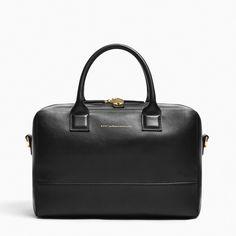 Mini Douglas holdall / duffel bag in Jet Black leather
