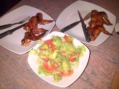 bbq chicken winglets and salad...yummy!