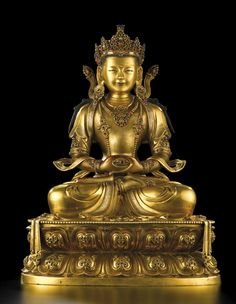 Gilt bronze Amitayus Buddha image, China, Qing dynasty Kangxi period (17th to 18th century).  Finely cast and richly embellished Buddha images of this type were commissioned by the Emperor Kangxi, who was a devoted follower of Tibetan Buddhism, as gifts.  Such images depict Amitayus Buddha seated on a double lotus petal pedestal with a serene facial expression and embellished with colourful semi-precious stone jewellery characteristic of Tibetan Buddhist images.