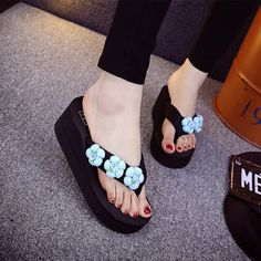 a095bc19d 2017 flip flop fashion women slipper high heeled wedges spring summer  slides lovery flower shoes girls