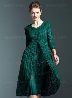 Kjoler - $70.15 - Lace Plain 3/4-langt ærme Knælængde Vintage Kjoler…