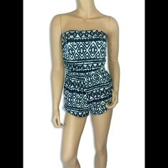 "Aztec Print Romper #422-BL Black and ivory Aztec print romper with pockets. 95% Rayon 5% Spandex. Made in U.S.A. Hand wash. Bust measured laying flat is 28"" and it is elastic so it will stretch out 4"" more. Waist 26"" also elastic. Length 22"". Always Me Pants Jumpsuits & Rompers"
