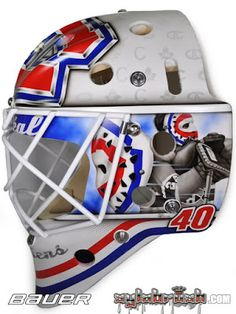 Ben Scrivens of the Montreal Canadiens for 2016 Winter Classic / Artist: Sylvie Marsolais Goalie Gear, Goalie Mask, Hockey Goalie, Montreal Canadiens, Nhl, Championship Rings, 2016 Winter, Masked Man, Cool Masks