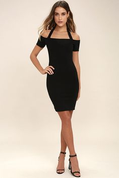 Lulus Exclusive! We can already hear the applause and cheers for you in the One for Me Black Off-the-Shoulder Bodycon Dress! Stretch knit starts at halter straps, and falls to fitted, off-the-shoulder sleeves (with no-slip strips). Bodycon bodice, with mini skirt, has a cutout back, and tying chiffon straps. Hidden back zipper.