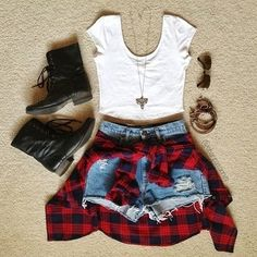 Crop top, high wasted shorts, combat boots, & a plaid button up.