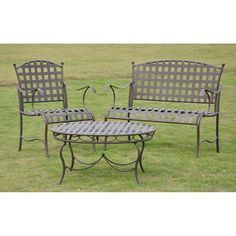 International Caravan Santa Fe 3-Person Wrought Iron Patio... ($402) ❤ liked on Polyvore featuring home, outdoors, patio furniture, conversation patio sets, outdoor wrought iron patio furniture, outdoor patio seating sets, patio chat set and outdoor patio lounge chairs