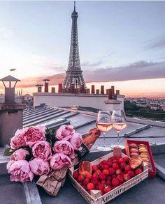 6fa52519958b95  Paris  roof  tops  romantic  setting  pinkroses  strawberries  macarons