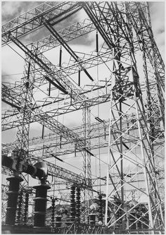 Photograph Looking Up at Wires of the Boulder Dam Power Units, 1941 -Ansel Adams