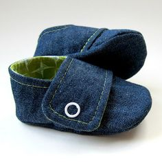 Baby Booties in Dark Denim and Green Cotton  Sizes 14 by Molipop, $25.00