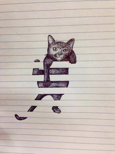 Arte del papel en raya.Gatito
