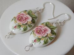 Japanese Style Tensha Bead Soft Pink Rose Drop Earrings in Sterling Silver by KowalaBeads