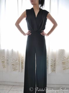 NEW VAVAVOOM JUMPSUIT BLACK JERSEY CUT OUT OPEN BACK V NECK  ROMPER PANT S SMALL