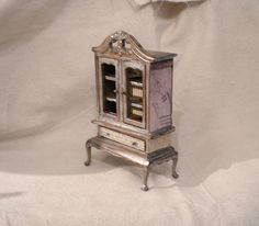 Miniature Silver French Hutch Magical 1 Inch Scale Dollhouse