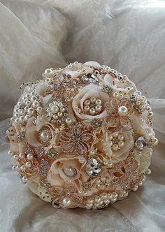 ROSE GOLD Brooch Bouquet DEPOSIT for an by Elegantweddingdecor