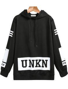 Black Hooded Long Sleeve UNKN Print Sweatshirt 14.33