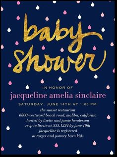 Baby Shower Pink and Gold http://www.tinyprints.com/product/55208/baby_shower_invitations_shining_sprinkle_heather.html