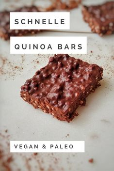 Schnelle & einfache Quinoa Bars - and easy food recipes snacks Schnelle & einfache Quinoa Bars Quinoa Vegan, Quinoa Bars, Quinoa Recipe, Recipe Recipe, Vegan Bar, Dessert Simple, Keto Recipes, Cake Recipes, Dessert Recipes