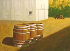 Winery, Marin County, California  I like the subtle asymmetries of the three barrels which gives a sense of movement.   Enjoy!