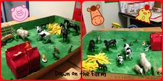 Here's our children's farm, complete with a barn, hay stack, and a pigsty!