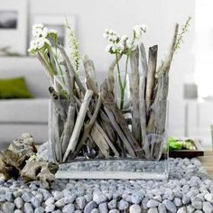 driftwood and rocks table centerpiece