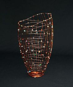 """Wind Basket"" Metal Beaded Basket Created by Sally Prangley Weaving Art, Wire Weaving, Willow Weaving, Basket Weaving, Beads And Wire, Metal Beads, Wire Picture Frames, Contemporary Baskets, Copper Wire Art"