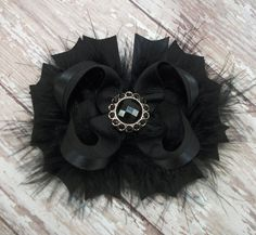 Solid Black Bow Fluffy Stacked Boutique Bow with Beautiful Rhinestone Center on Etsy, $7.99