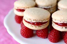 Vanilla bean macarons with raspberry filling