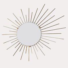 Miroir soleil vintage en métal doré - Hello Vintage Shop - Meubles, objets, decoration, mode, jouets vintage et (re)-creations pour petits et grands enfants