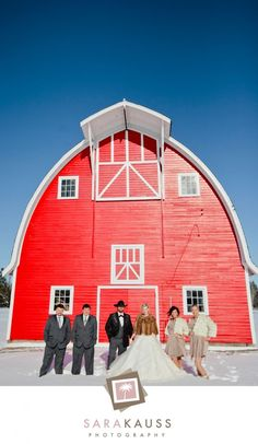 Bridal party at a red barn.  #winterwedding