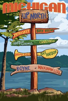 Up North, Michigan - Sign Destinations - Lantern Press Poster