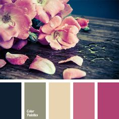 Color of tea rose on a dark blue background combined with bright mood of fuchsia and flavored with greenish-gray tint perfectly characterizes tenderness and deepness of pink hues. Wedding decoration in colors of this palette will create a flowery mood for each guest and make most important event in the life unforgettable.