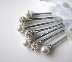 Pearl and Rhinestone Hair Pins - White and AB Classic Elegance Set of 7