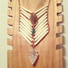Native Inspired Neckwear  #native #tribal #bone #arrowhead #necklace #jewelry #bohemian #gypset #handmade #breastplate