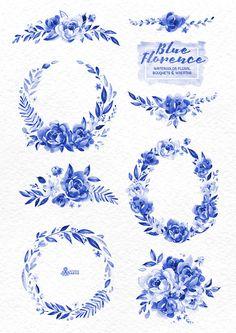 Florencia de tinta azul. Peonía de Ramos y guirnaldas, delft blue, acuarela, invitar a florales de la boda, tarjeta de felicitación, diy, flores, azul de china por OctopusArtis