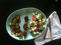 Köfte, fried zucchini and a Greek Salad.