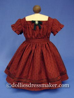 Wide neck dress for American Girl doll Addy ~ Shirred front bodice panel with cameo at neckline. $34.95