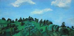 Across the Waterhole, Maleny Queensland Australia Painted from Life—View from My Window and the Day After I Painted the Unpaved Road on the Top of the Range, They Paved it Over, Uncanny Timing Oil on Canvas 12 x 24 $499.99