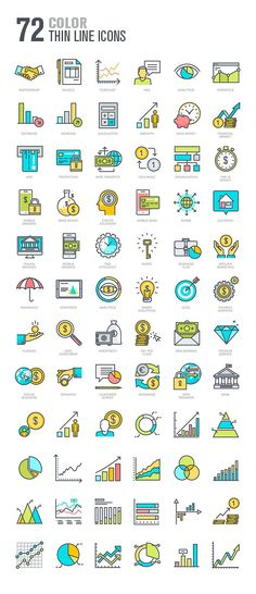 Set of Thin Line Icons for Finance by PureSolution on @creativemarket