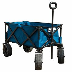 Folding Camping Wagon Cart Collapsible Sturdy Steel Frame Garden Beach Cart Color: Blue Timber Ridge wagon is a perfect utility wagon/cart for Folding Cart, Folding Wagon, Burning Man, Beach Wagon, Beach Mom, Beach Trip, Pull Wagon, Beach Cart, Wheelbarrow Garden