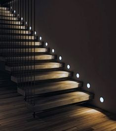 Cool Staircase Lighting Design Ideas Small Circle Leds Discover added safety and year-round ambiance with the top 60 best staircase lighting ideas. Explore cool illuminated steps and handrails. Home Stairs Design, Home Room Design, Dream Home Design, Modern House Design, Home Interior Design, Interior Decorating, Staircase Interior Design, Tv Wall Design, Stairs Architecture