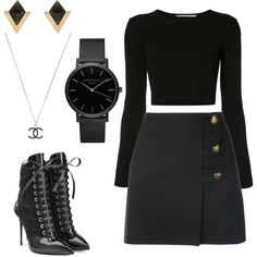 OOTD/17 by queenofhearts-k on Polyvore featuring moda, Rosetta Getty, Yves Saint Laurent, Giuseppe Zanotti, ROSEFIELD, Accessorize and Chanel