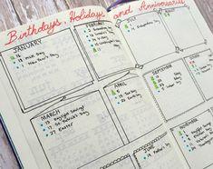 #BJ #agenda #planner #journal #smashbook #page #annuel #calendrier #anniversaires #idée #modèle