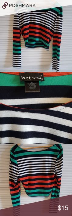 Wet Seal stripped long sleeve crop top Adorable and in great condition. No stains or rips. Wet Seal Tops Crop Tops