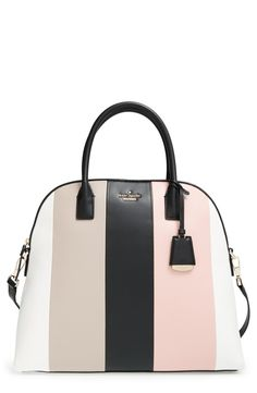 Neapolitan-hued stripes of supple leather lend retro charm to the beloved Kate Spade satchel, this time done in an oversized silhouette for a chic, envious stare-inducing statement.