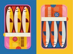Sardines by Bailey Sullivan on Dribbble Flower Illustrations, Fish Illustration, Graphic Illustration, Fish Design, Grafik Design, Art Inspo, Packaging Design, Design Inspiration, Drawings