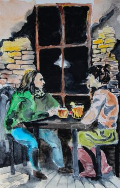 Original watercolour painting of two friends having a good time on a Friday night in a Prague pub Hlucna Samota in Vinogrady district. Size: x Prague Restaurants, Watercolour Painting, The Originals, Illustration, Artwork, Prints, Friday, Etsy, Night