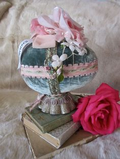 Velvet Easter Egg Centerpiece, Vintage Jewels, Pink Roses by LadidaHandbags on Etsy https://www.etsy.com/listing/181142200/velvet-easter-egg-centerpiece-vintage