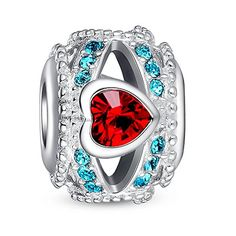 Glamulet Red and Blue Heart Openwork Charm 925 Sterling Silver Fits Pandora Bracelet *** Click image to review more details.