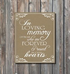 In Loving Memory Sign-Rustic Kraft Wedding Sign–Printable Wedding Sign–DIY Wedding Sign–Rustic Wedding Sign–8x10 Sign-Instant Download