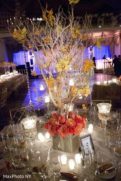 This Indian wedding reception is a bright and beautiful affair with lovely decor.